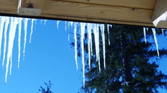 Water dripping with icicles Stock Footage