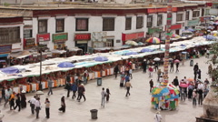 Barkhor Square from above, Lhasa, Tibet Stock Footage
