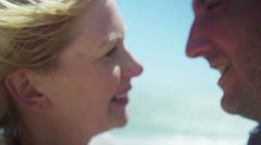 4K Attractive romantic couple on summer day share a kiss. S - stock footage