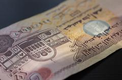 Banknote of the United Arab Emirates in five dirhams close up - stock photo