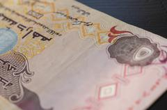 Banknote of the United Arab Emirates in five dirhams close up Stock Photos