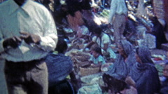1974: Outdoor food market selling peppers,tomatoes and melons. Stock Footage