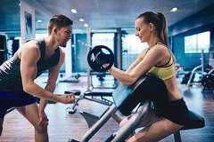 Workout in gym Stock Photos