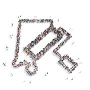 Group  people  shape paint roller Stock Illustration