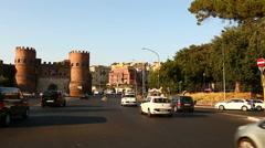 Porta San Paolo and Pyramid of Caius Cestius Stock Footage