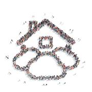 Group people  shape  house clouds Stock Illustration