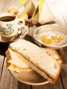 Traditional Malaysian breakfast kaya butter toast - stock photo