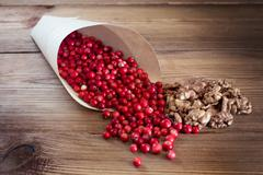 Many bright red cowberries and walnuts in a paper bag Stock Photos