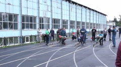 Competitions on rescue sport among the employees of the EMERCOM of Russia Stock Footage