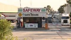 Safeway depot gatehouse Stock Footage