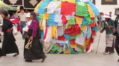 Tibetan Buddhist prayer flags, Lhasa, Tibet Stock Footage
