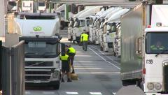 Truck Drivers & Trucks at depot Stock Footage