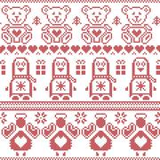 Scandinavian vintage Christmas  Nordic seamless pattern with penguin, angel Stock Illustration
