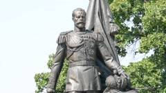 Monument of the Nikolay Romanov in Belgrade Stock Footage