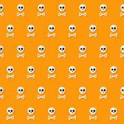 Seamless Halloween Skull Pattern with Bones - stock illustration