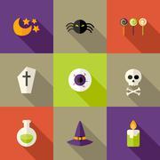 Halloween Squared Flat Icons Set 3 Stock Illustration