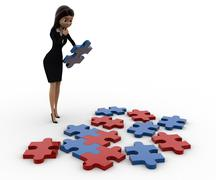 3d woman try to solve jigjaw puzzle concept Stock Illustration
