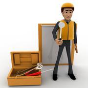 3d construction site worker representation concept Stock Illustration