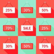 Sale 25 30 50 and 70 % Sign Icons Set Stock Illustration