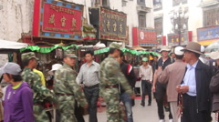 Chinese soldiers, Lhasa street, Tibet Stock Footage
