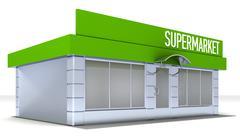 Illustration of shop or minimarket kiosk exterior Stock Illustration