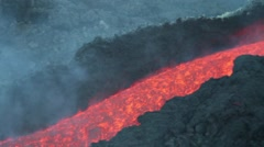 Lava flowing in channel Stock Footage