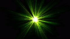 Bright Star and Light Animation - Loop Green Stock Footage