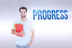 Stock Photo of Progress against grey background
