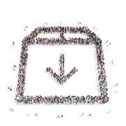 Stock Illustration of group  people  shape  arrow box