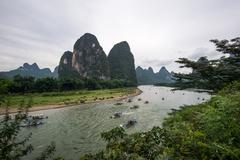 The tourboats on Li river - stock photo