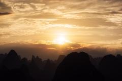 The karst mountain tops Stock Photos