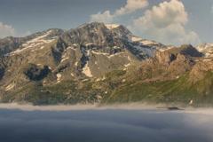 Fort de Variselle early morning fog below summer time lapse 6K native Stock Footage
