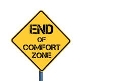 Yellow roadsign with End Of Comfort Zone message - stock photo