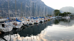 Riva Del Garda harbor on Lake Garda, Italy. Stock Footage
