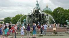 The Neptunbrunnen (Neptune) fountain in Berlin, Germany Stock Footage