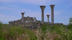 Remains of an ancient colonnade in the Chersonese Taurian. Stock Footage
