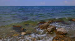 Hot summer day. Rocky shore of the Black Sea. Stock Footage