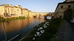 Ponte Vecchio stone bridge over the Arno River in Florence, Italy. Stock Footage