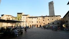 Piazza della Cisterna, San Gimignano, Tuscany, Italy Stock Footage