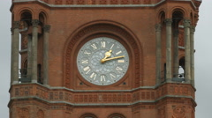 The tower clock of the Rotes Rathaus building in Berlin Stock Footage