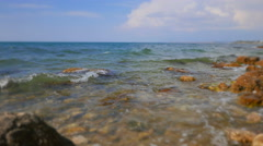 View of the sea. Shallow depth of field and blur the perimeter of the frame. - stock footage