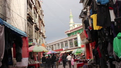Lhasa Mosque and Muslim Quarter, Tibet Stock Footage