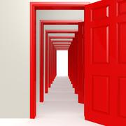 Multiple red doors in a row - stock illustration