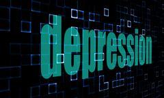 Pixelated words depression on digital background Stock Illustration