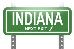 Indiana green sign board isolated - stock illustration