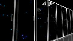 Data center servers glass fronted flashing lights tracking shot centre 4K - stock footage