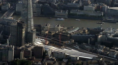 Aerial London City Shard and Walkie Talkie Building - stock footage