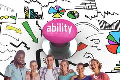 Stock Photo of Ability against pink push button
