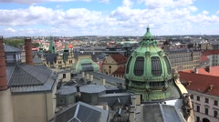 Dome of Municipal House & New Town of Prague from the Powder Tower. Timelapse. Stock Footage