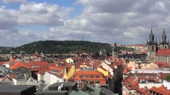 Petrin hill & Old Town of Prague (Stare Mesto) from the Powder Tower. Stock Footage